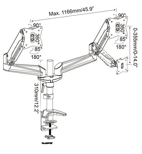 پایه رومیزی دو مانیتور گازی